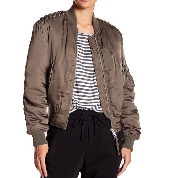 0d379827d ALL SAINTS Bree Laced bomber jacket sz XS